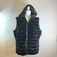 New York & Company Black XXL Reversible Vest Zip Front Pockets Faux Fur EUC