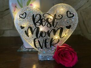 Best Mum Ever Heart Handmade With or Without Lights in Super Sparkly Silver