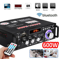 600W 2CH bluetooth Car Digital Amplifier HIFI Stereo Audio USB SD FM Mic Home