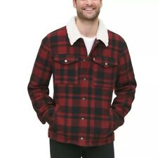 Levi's Red Plaid Wool-Blend Sherpa collar Lined Trucker Jacket - sizes