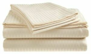 Fine 1000 Thread Count 100% Cotton Bed Stripe Fitted Flat Sheet Set Deep Pocket