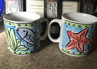 Sango Set (2) Key West Coffee Mug 6101 Fish Starfish Beach Ocean-EUC