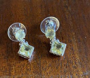 Ouro Verde Quartz  Platinum Over Sterling Silver Drop Earrings 3.36 Ctw