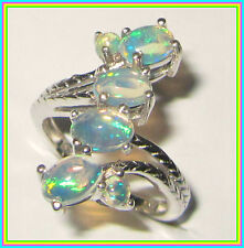 Genuine Ethiopian Welo Opal  Ring Platinum overlay Sterling Silver 925 sz 6