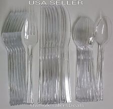 192 Plastic Forks, Knives, Tea Spoons, Soup Spoon Clear Extra Heavy Duty Cutlery