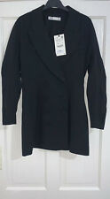 ZARA BLACK SHAWL COLLAR PUFF SLEEVES BLAZER DRESS WITH BUTTONS SIZE S RRP£90 NEW