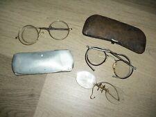 lot 3 anciennes paires de lunettes monture en metal - lorgnons binocles ....