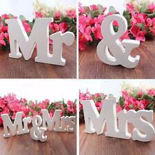 Vogue Wedding Reception Sign White Wood Letters Mr & Mrs Table Centrepiece Decor