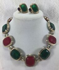 Kenneth Lane Vintage Red & Green Emerald Cut Glass Choker Necklace And Earrings