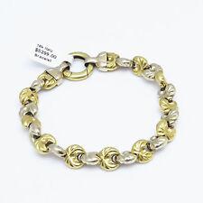 NYJEWEL 18k Solid Gold Two Tone Italy Designer Heavy Bracelet 27.6g