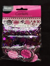 70th Birthday Confetti Table Decoration Sprinkle Black Pink Purple Age 70 Party