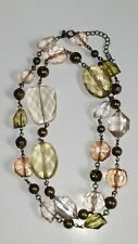 Premier Designs ENCHANTMENT Large Green and Gold Crystal Beaded Necklace Chain