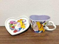 Tokyo Disney  Alice in Wonderland Tea Cup & Plate Purple Heart Shape Set