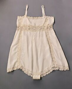 VTG Women's 20s 30s White Underwear / Slip w Lace Sz L 1920s 1930s Lingerie