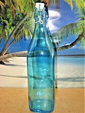 TALL AQUA SQUARE GLASS WIREBAIL WITH PORCELAIN STOPPER DECORATIVE  USABLE BOTTLE