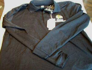 Antigua NHL Chicago Blackhawks Black Long Sleeve Polo Shirt Size Small NWT