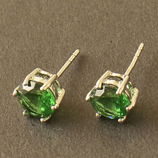 Nice New White Gold Filled 6 Prong Set 7mm Round Emerald Green CZ Stud Earrings