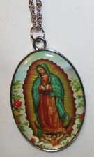 Pretty Floral Accent Shiny Our Lady of Guadalupe Picture Medal Pendant Necklace
