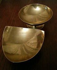 artisan 2 hand-hammered brass gold tone pin dishes signed A Dearden 1970's
