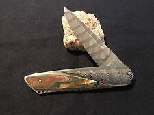Damascus Liner Lock Folder by Corrie Schoeman  Attn. William Henry Knife