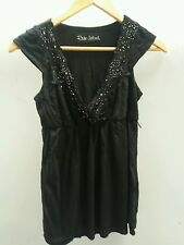 River Island Black Top Size 8 Lace Diamante <J1682