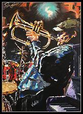 Der Hornist Lithografie von Volker Welz signiert Flügelhorn Trompete Posaune POP