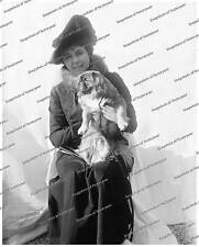Vintage photo-Woman in hat with dog-8x10 in.