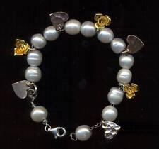 Bracciale argento 925 Sterling + perle e charms pl. oro