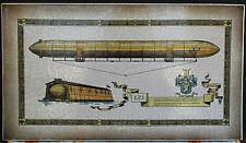 """Karlsruher Majolika Wand Platte !!!  """" LZ 1 Luftschiff Zeppelin """"!!! Rarität !!"""