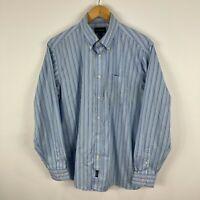 Gazman Mens Button Up Shirt Large Blue Striped Long Sleeve Collared
