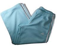 Womens AquaMarine Adidas Capri Track Workout Pants Size S CLIMALITE