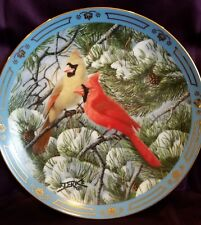 Danbury Mint Winged Treasures Fire in the Snow Bird plate