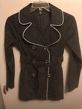 Maurices Women's Button Jacket W/ Belt Black White Polka Dot Size Small