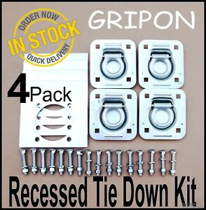 24PCS Recessed Tie Down D Rings Pan with Plate Hardware Trailer Van Anchor Truck