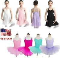 US! Kids Girls Ballet Tutu Dress Leotard Gymnastics Ballerina Dancewear Costume