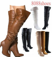 Women's Fashion Sexy Zipper High Heel Over The Knee High Boots Size 5.5 - 10 NEW