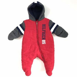 Tommy Hilfiger Infant Insulated Snowsuit Outwear Coveralls Red Blue Size 3-6 Mon