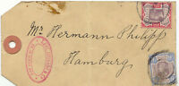 GB 1897 QV Jubilee 9 D + 10 D on parcel label to HAMBURG, extremely rare usage