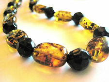 Vintage Lucite Amber & Black Bead Strand String Necklace