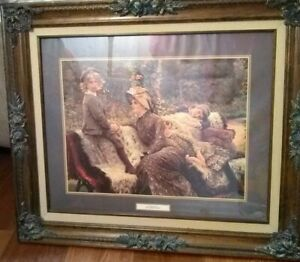 "Elegant•Wood•Framed•25""x 21"" James Jacques Joseph Tissot ""The Garden Bench"""