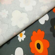 FFA-122- Cotton Linen Canvas Fabric FLOWERS ON GRAY By Half Meter +free button