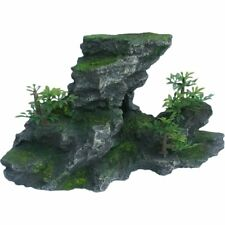 Artificial Green Plant on Lava Looking Rock Aquarium Fish Tank Ornament Decor
