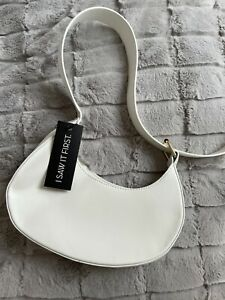 Ladies I Saw It First Curved White Leather Shoulder Baguette Bag BNWT