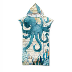 Sea Horse Turtle Octopus Whale Hooded Bath Swim Beach Poncho Towel Changing Robe