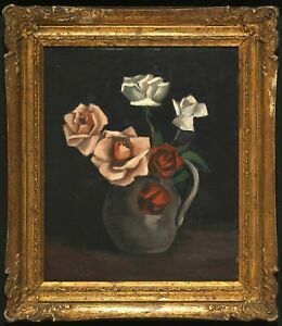 "Original Oil Painting ""ROSES"" by Korean Modern Art Pioneer WhanKi Kim from 1945"