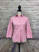 Ralph Lauren Womens Pink White Gingham Check Non Iron 3/4 Sleeve Shirt Size P/S