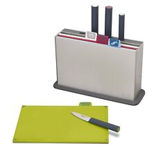Joseph Joseph Index Plastic Cutting Board Set with 4 Matching Knives, Silver
