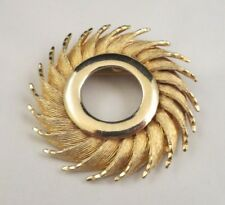 Vintage HAR Signed Pinwheel Flower? Brooch Pin Textured Gold Tone Open Center
