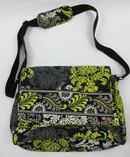 Vera Bradley Messenger Crossbody Bag Purse Floral Gray Yellow Quilted Barouque