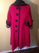 Samii Clothes Wool Coat Pink Black Blue Embroidered Beautiful Jacket Size Large